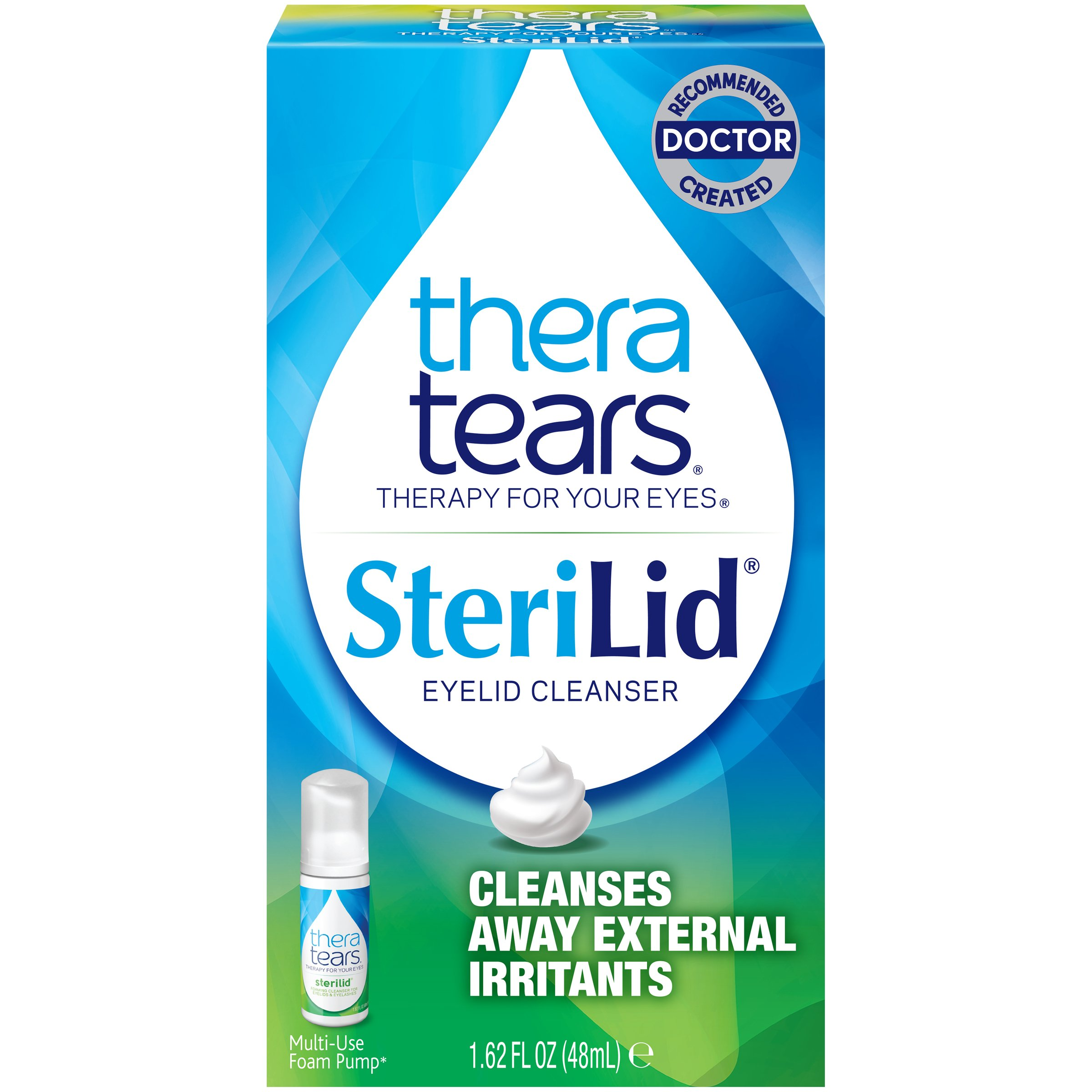 TheraTears Sterilid Eyelid Cleanser, Lid Scrub for Eyes and Eyelashes, Contains Tea Tree Oil, 48 mL, 1.62 Fl oz Foam Pump by Thera Tears