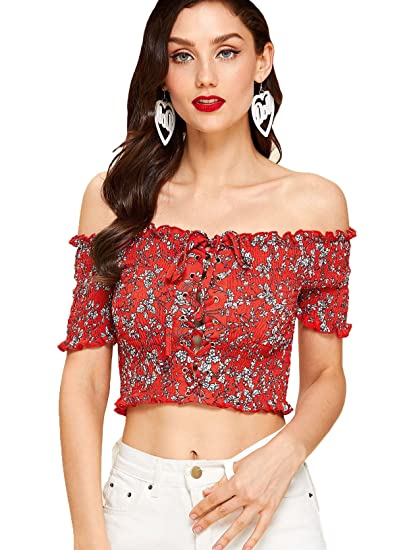 e9d8a465a58d92 SheIn Women s Boho Off Shoulder Lace up Short Sleeve Floral Crop Top Blouse  Burgundy  Large at Amazon Women s Clothing store