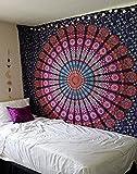Raajsee - Arazzo stile Mandala con piume viola, stile bohemien-hippy con elefante, decorazione da parete psichedelica, regalo di Natale. Dimensioni 220x 240cm, Cotone, multicolor, 220*240 cms
