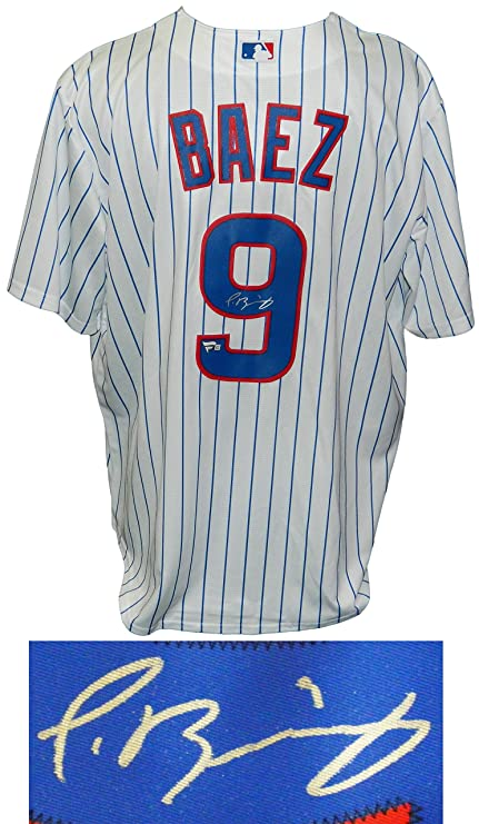 75c7a4df8d0 Javier Baez Signed Cubs White Pinstripe 2016 World Series Patch Majestic  Jersey