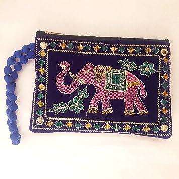Bolso de bordado con diseño de elefante de tela india, bolso ...