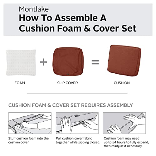 Classic Accessories Montlake Water-Resistant 41 x 18 x 3 Inch Patio Bench/Settee Contoured Back Cushion