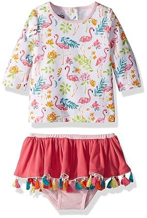 d8d15e14c0 Amazon.com: Mud Pie Baby Girls Floral Flamingo Two Piece Rash Guard Swimwear:  Clothing
