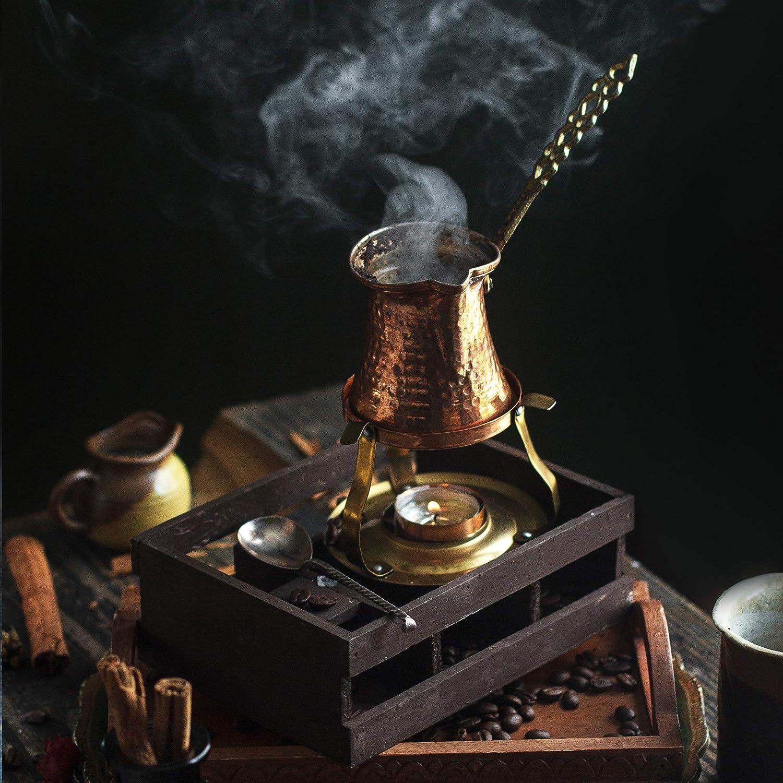 Pentola in Rame martellato ottomana Fatto a Mano Nosy Nomad Caffettiera Turca: Caffettiera in Rame Cezve per caff/è Turco Macchina per caff/è araba ibrik con Manico 2 porzioni