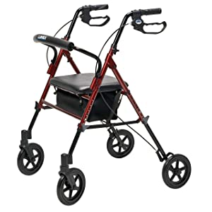Lumex Set n' Go Wide 2-in-1 Height-Adjustable Rollator, Burgundy, RJ4718R