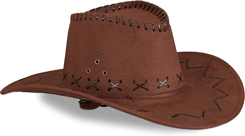 Relaxdays Sombrero Vaquero, color marrón oscuro, 16 X 35.5 X 39 cm (10024992_746)