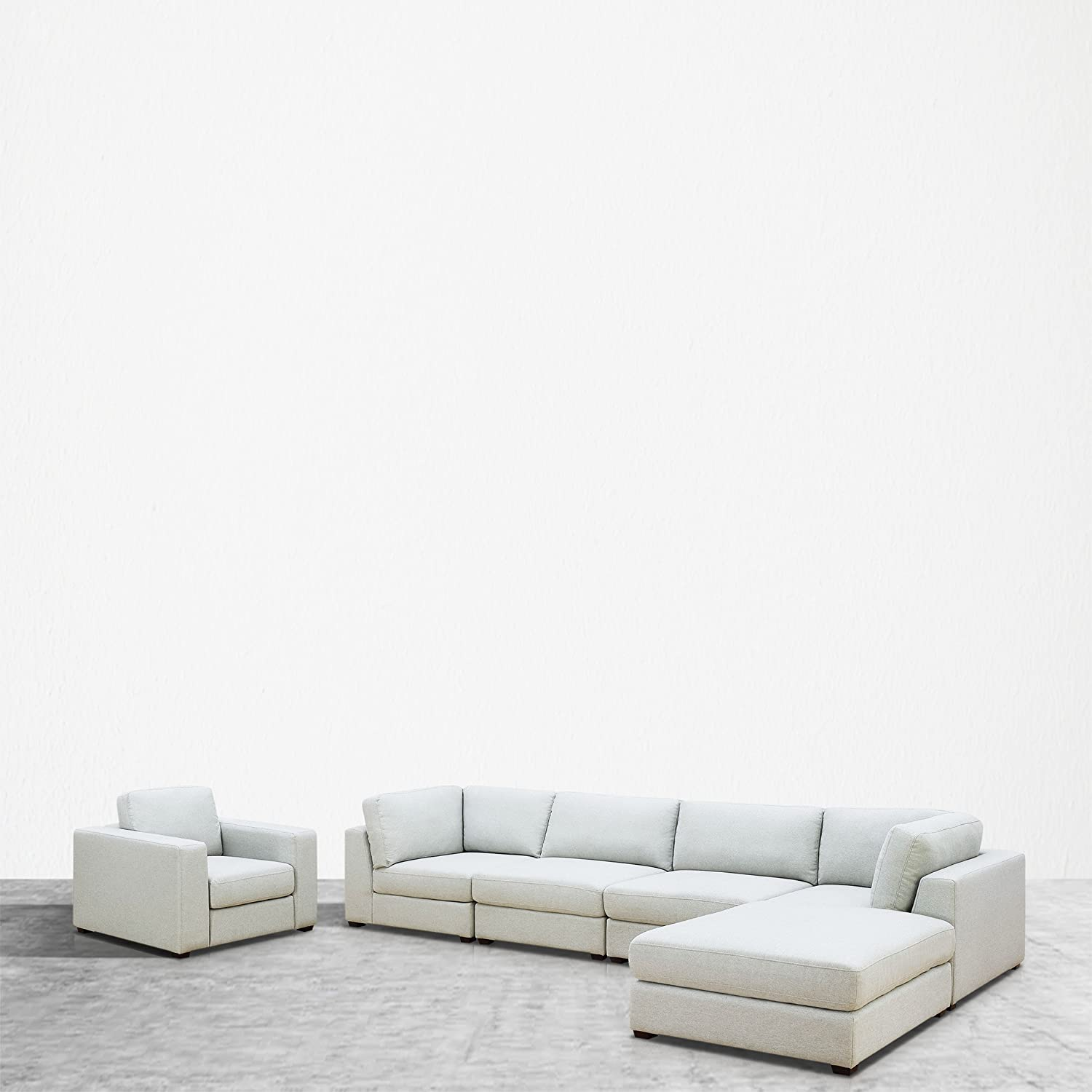UrbanFurnishing.net Reed 6-Piece Modular Customizable and Reconfigurable Deep Seating Sofa Sectional