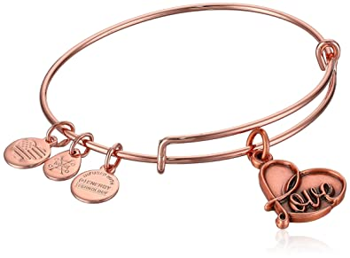 6c113f5cc91cc3 Alex and Ani Women's Love Rose Gold Charm Bangle Bracelet, Expandable