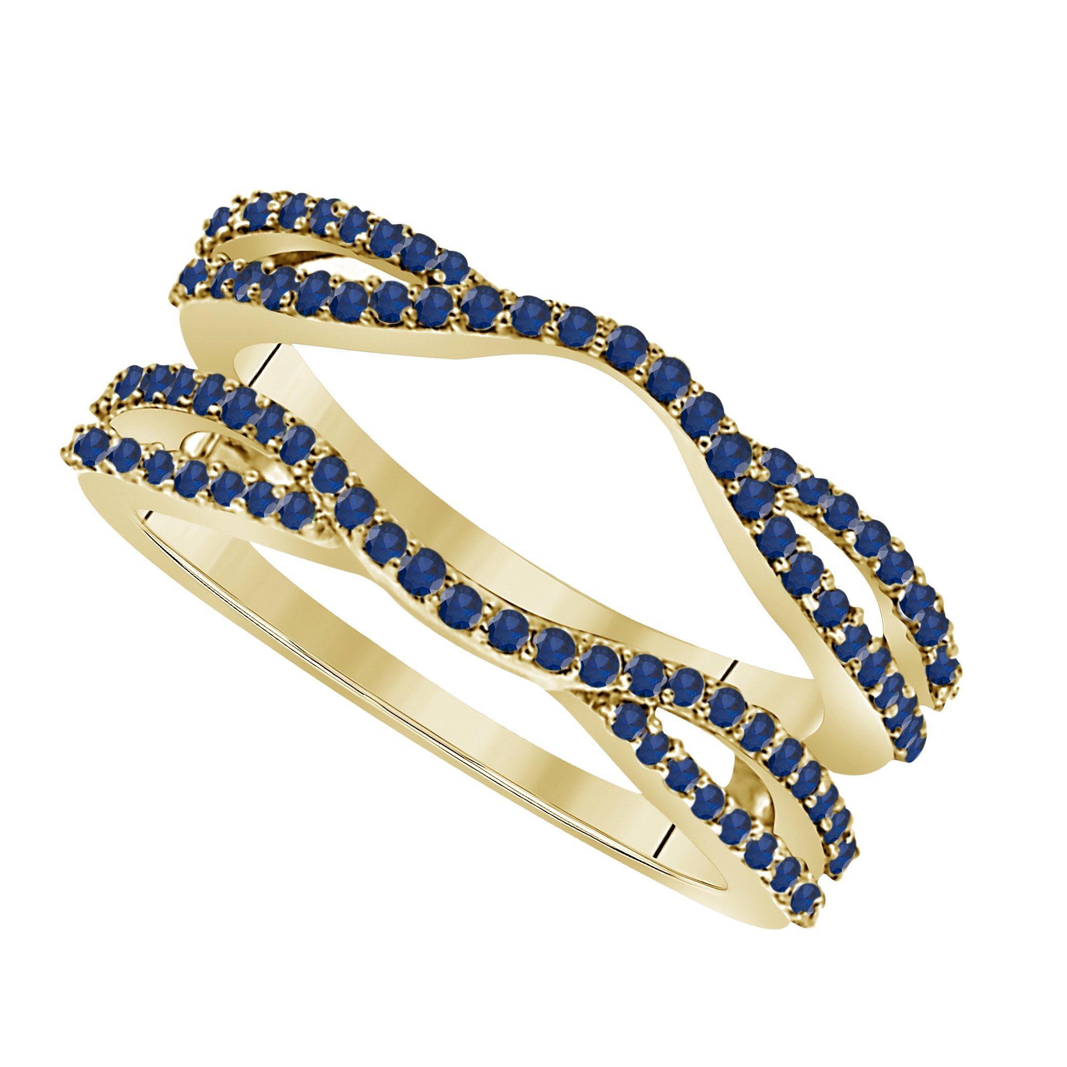 Star Retail 1/2 Ct 14K Yellow Gold Finish Round Cut Lab Created Blue Sapphire Ladies Anniversary Wedding Band Enhancer Guard Double Chevron Ring
