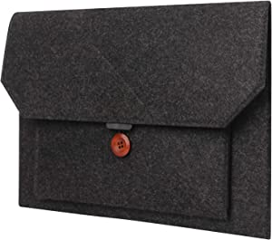 FYY 12-13.3 Inch Felt Laptop Sleeve Case For MacBook 12/MacBook Pro 13/MacBook Air, Microsoft Surface Pro 7/6/5/4/3/LTE 12.3, iPad Pro 12.9, Felt and PU Leather Carrying Case Bag with Pocket Dark Gray