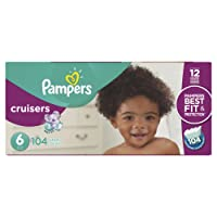 Pampers Cruisers Disposable Baby Diapers Size 6, Economy Pack Plus, 104 Count