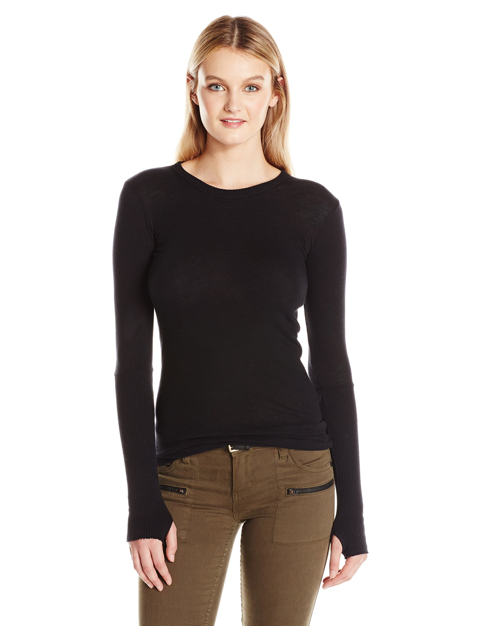 Enza Costa Women's Cashmere Long Sleeve Cuffed Crew with Thumbhole, Black, S