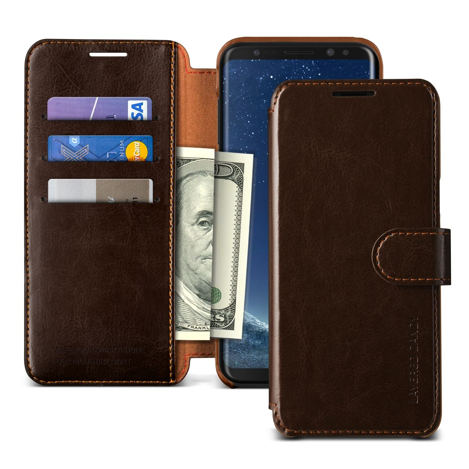 VRS DESIGN Note 8 Wallet Case, Drop Protection Cover Classy Slim Premium PU Leather Wallet [Dark Brown] ID Credit Card Slot Holder for Samsung Galaxy Note 8 Case [Layered Dandy]