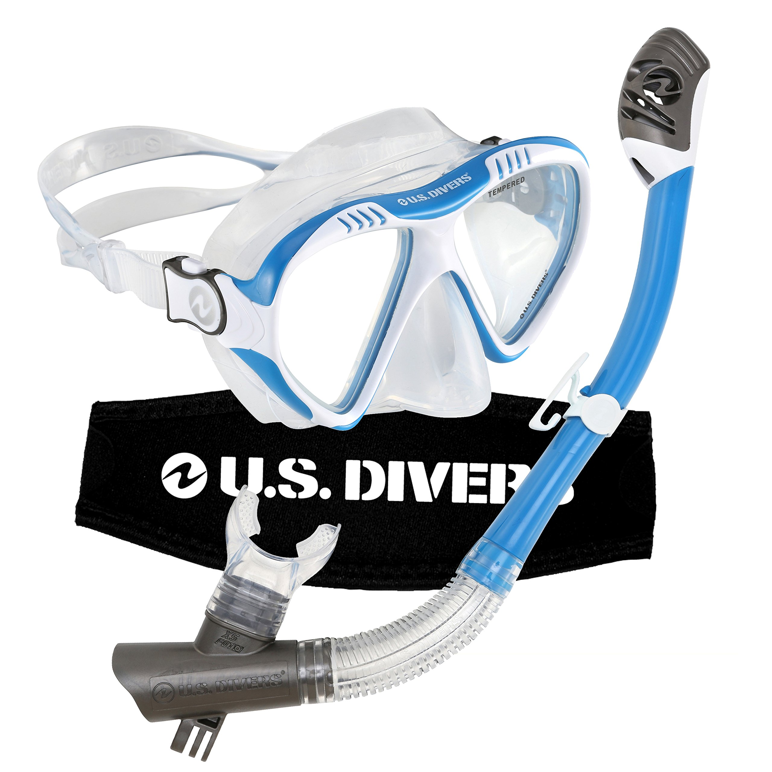 US Divers Magellan LX Dry Snorkeling Set Blue/white Compatible with GoPro by U.S. Divers