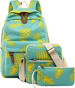 Bookbag School Backpack Girls Cute Schoolbag for 15 inch Laptop backpack set (Water blue A002 yellow pineapple)