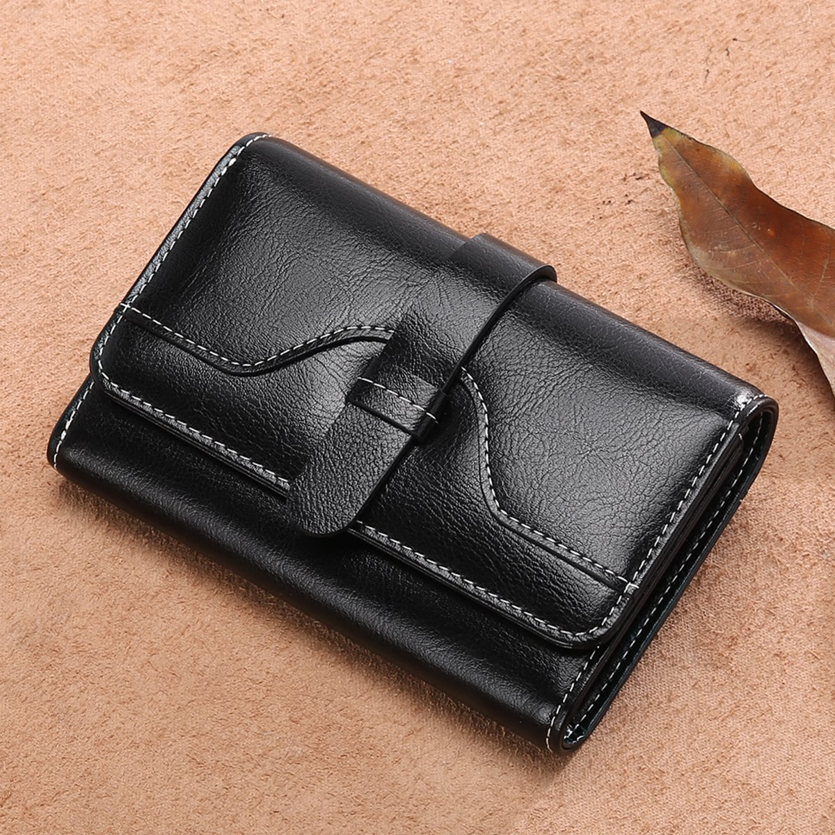 Vintage Leather Women short Wallet Coin Pocket Phone Purse Female Card Holder by Sendefn (Image #6)