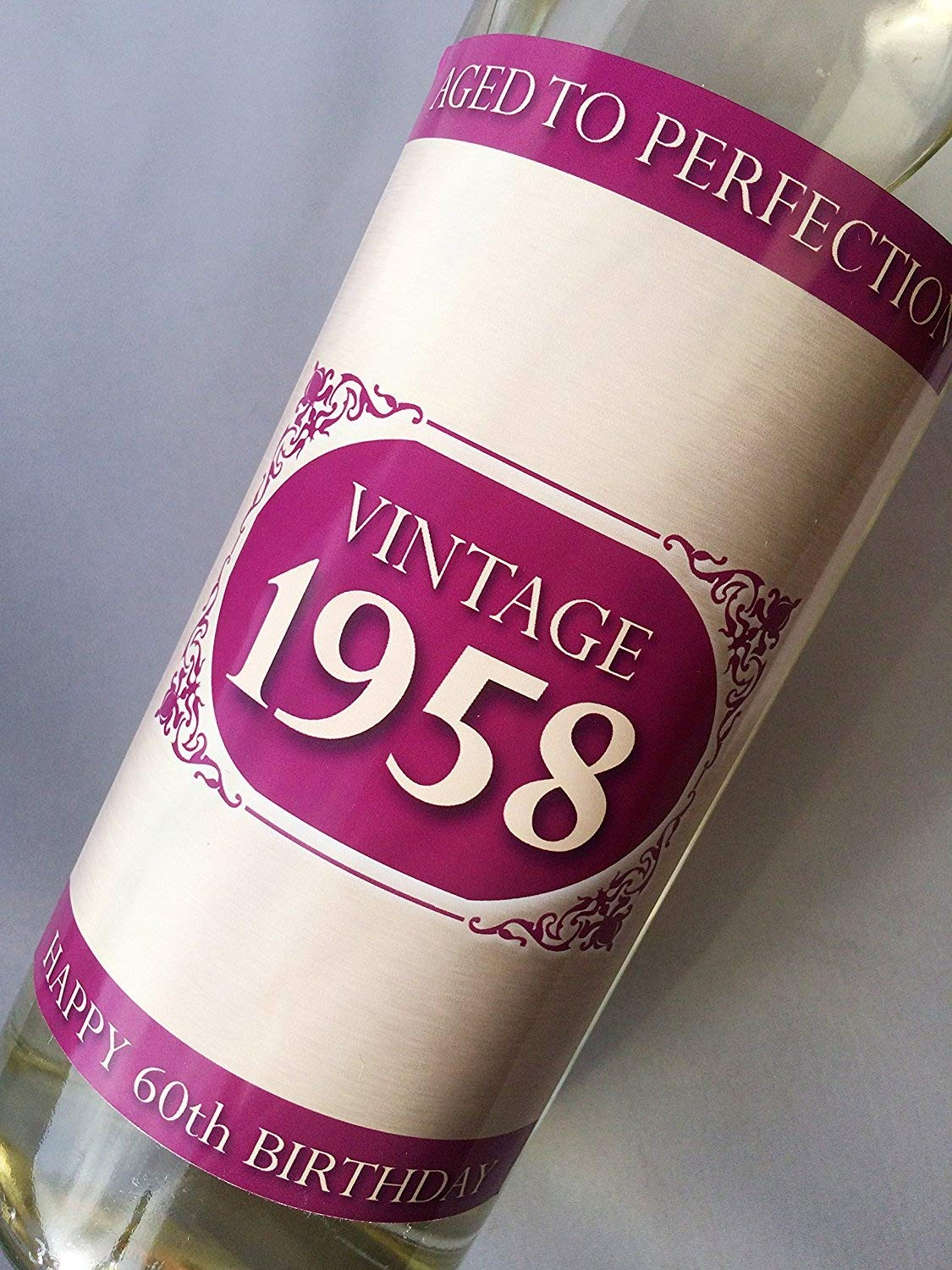 1958 Vintage Pink Happy 60th Birthday 2018 Wine Bottle Label Gift for Women and Men Purple Products