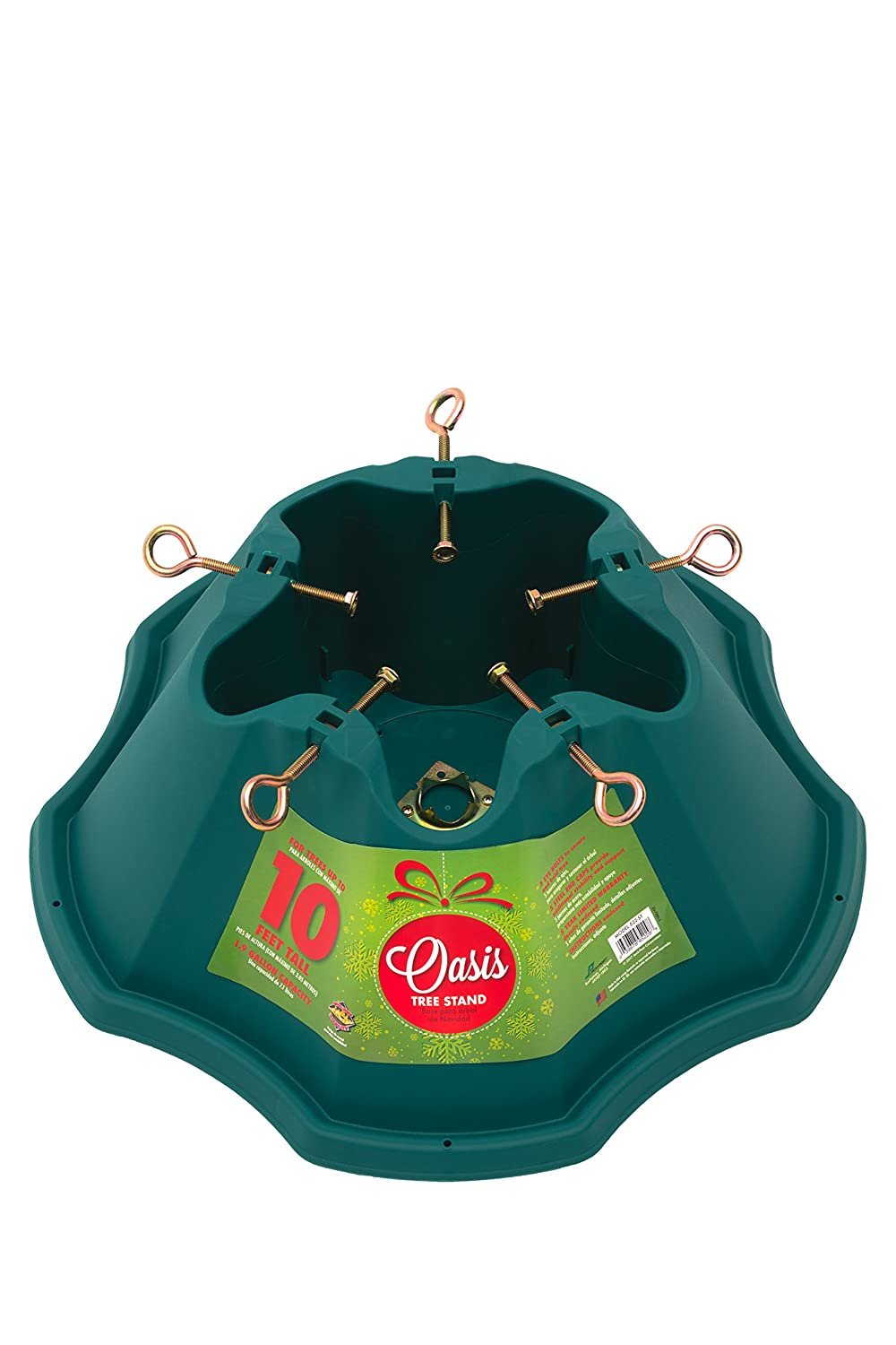 JACK-POST Oasis Christmas Tree Stand, for Trees Up to 10-Feet, 1.5-Gallon Water Capacity