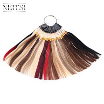 Neitsi Color Ring With 35 Colors Sample Human Hair Extensions ...