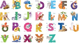 Kath & Cath ABC Alphabet Animals Nature Watercolour Nursery Room Vinyl Removable Self-Adhesive Multi-colour Wall Mural Art Home Decoration