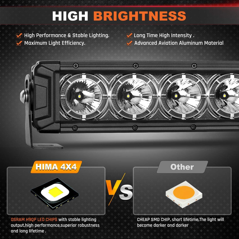 HIMA4X4 32 Inch Single Row LED Light Bar with DRL Daytime Running Light OSRAM LED Chip 150W Spot Beam Driving Fog Lights for Jeep Off Road Boat Trucks Pickup SUV ATV UTV,1Pack