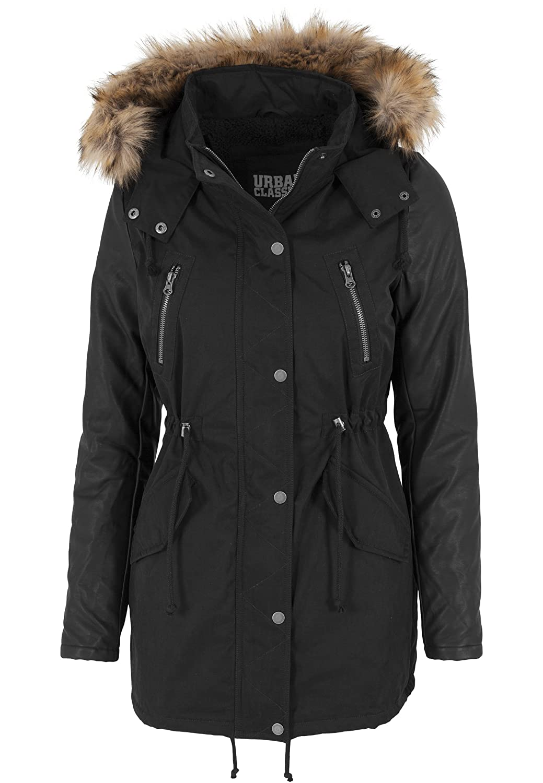 Urban Classics Jacke Leather Imitation Sleeve Parka, Chaqueta para Mujer