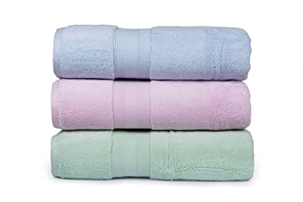 Casa Lino - Affluence Premium Cotton 650 GSM Set of 3 Pcs Large Bath Towels - Baby Pink,Sea Green,Sky Blue