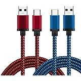 """[Lot de 2] Câble USB Type C en Nylon, BeneStellar Haute Vitesse USB 3.1 Type C vers Norme Type A USB 3.0 Câble de Charge pour Samsung Galaxy Note 8, Galaxy S8 / S8 Plus, LG G5 / G6, Apple Macbook 12"""", Google Pixel / Pixel XL, Huawei Mate9 / P9 / P9 Plus, Honor 8, Nexus 6P / 5X, OnePlus 2 / 3, HTC 10 etc (3ft / 0.9m, Rouge+Bleu)"""