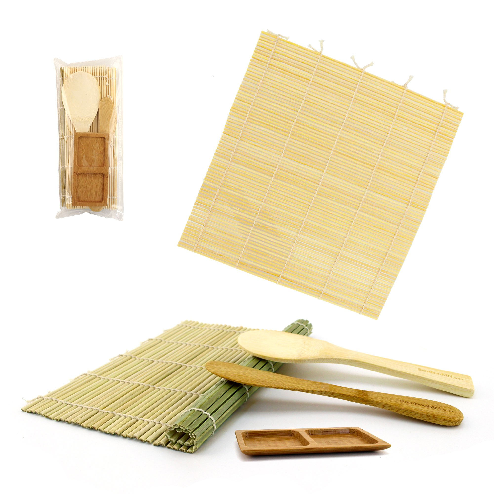 BambooMN Sushi Maker Kit 3 Sets of 1x Green, 1x Natural Bamboo Rolling Mats, 1x Rice Paddle, 1x Spreader, 1 Compartment Sauce Dish