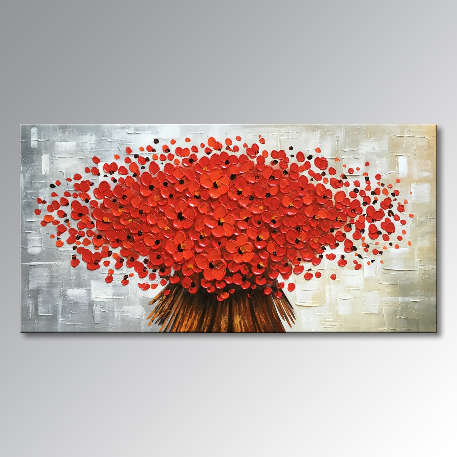 Winpeak Art Large Hand Painted Abstract Canvas Wall Art Modern Textured Red Flower Oil Paintings Contemporary Artwork Floral Hangings Stretched And Framed Ready to Hang (56''W x 28''H, Red) by Winpeak Art