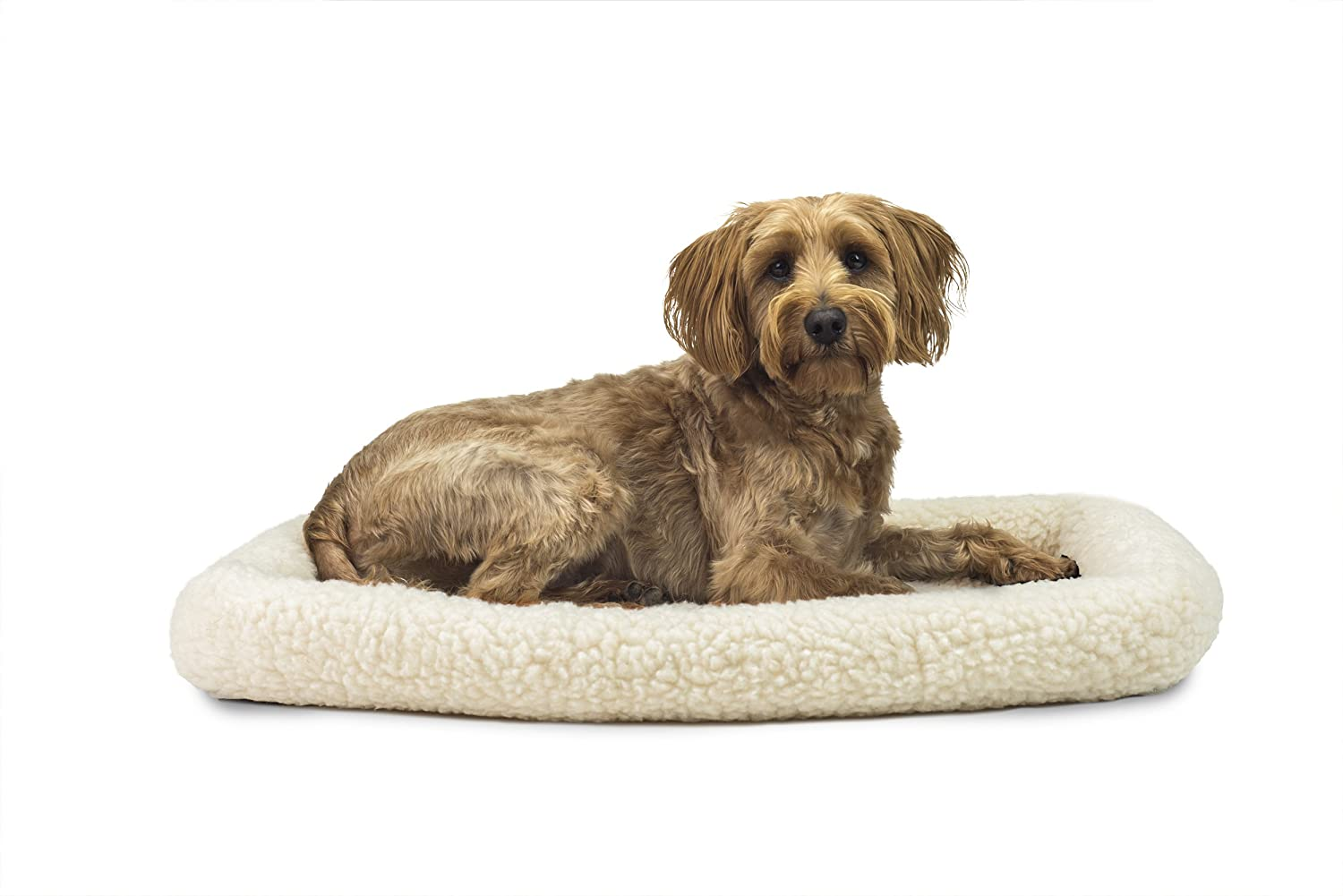 FurHaven Pet Kennel Pad   Faux Lambswool & Sherpa Bolster Pet Bed for Kennels & Crates, Cream, Medium