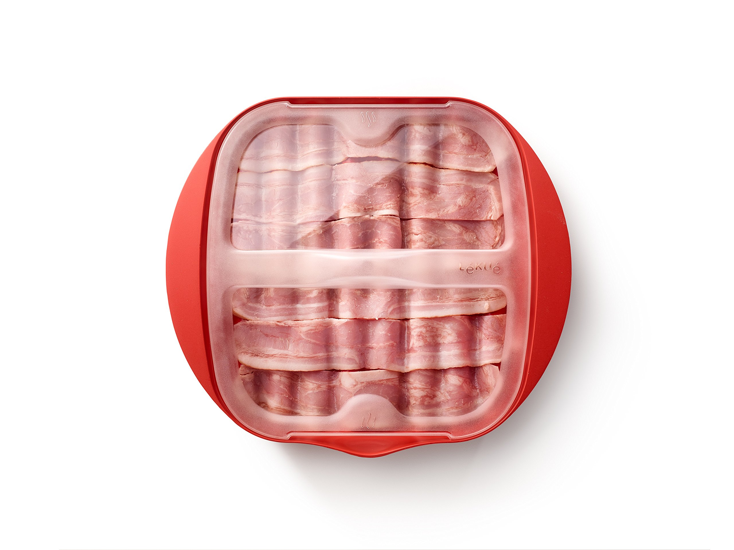 Lekue Microwave Bacon Maker/Cooker with Lid, 11.02'' L x 9.8'' W x 2.3'' H, Red by Lekue (Image #4)