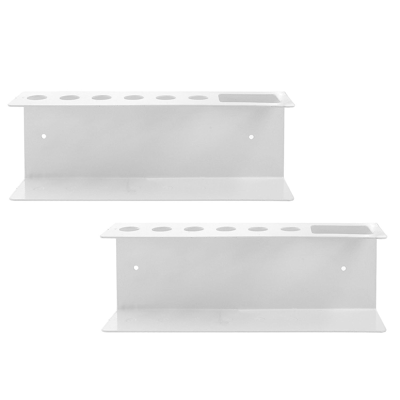 Set of 2 Wall Mountable Metal Dry Erase Whiteboard Marker /& Eraser Holder Tray White