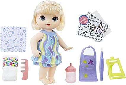 Amazon Com Baby Alive Finger Paint Baby Blonde Hair Doll Drinks Wets Doll Accessories Includes Art Supplies Bottle And Diaper Great Doll For 3 Year Old Girls Boys And Up Amazon Exclusive Toys
