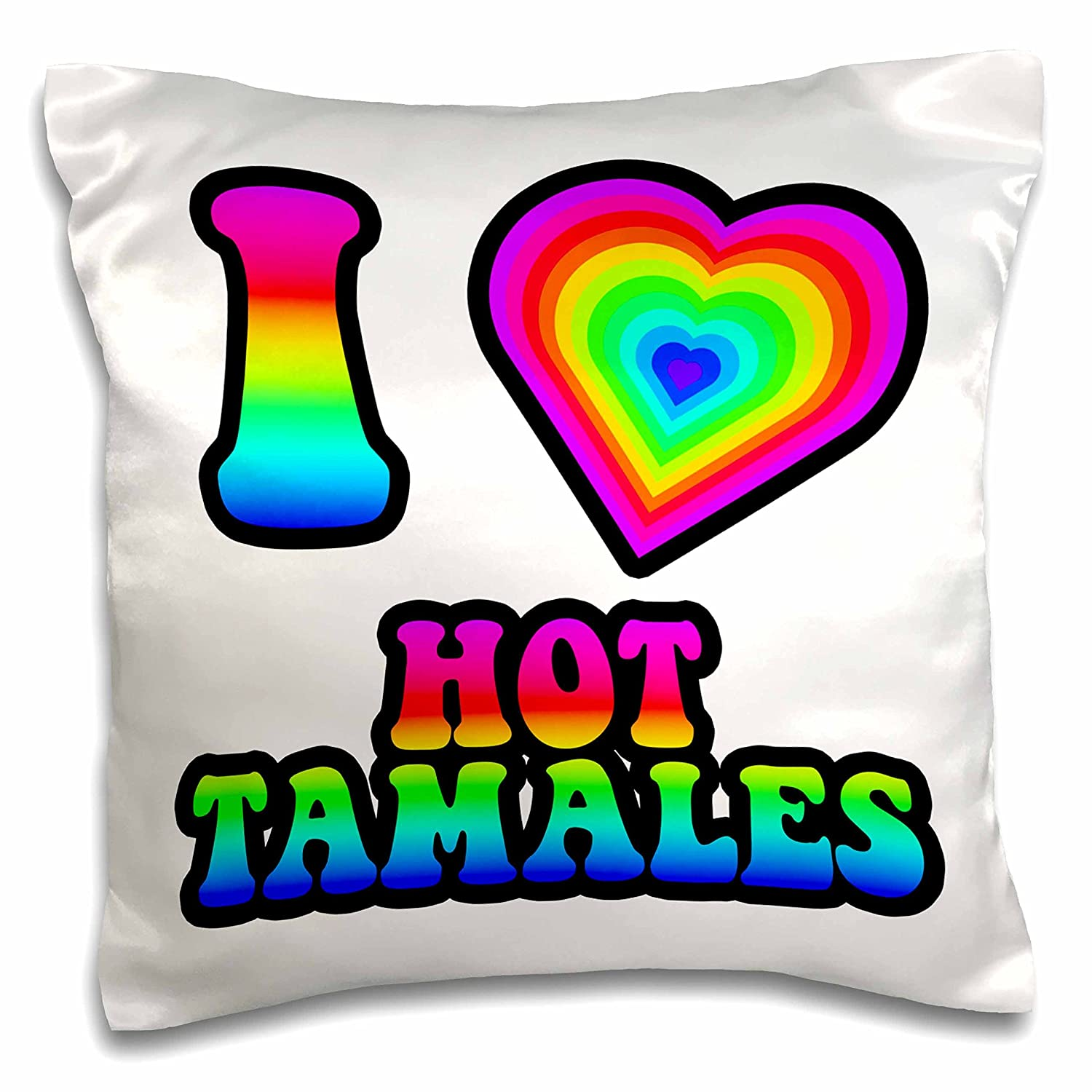 16 x 16 3dRose pc/_217455/_1 Groovy Hippie Rainbow I Heart Love Mac and Cheese Pillow Case