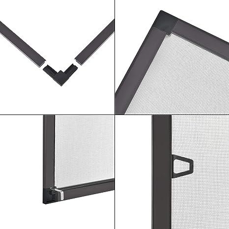 Mosquitera para Ventana con Marco de Aluminio 80 x 100 cm Mosquitera Fija Fibra de Vidrio Protección contra Mosquitos y Moscas Recortable Marrón: Amazon.es: Hogar