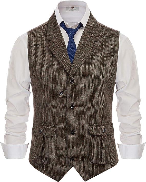 Men's Vintage Workwear – 1920s, 1930s, 1940s, 1950s PJ PAUL JONES Mens Herringbone Tailored Collar Waistcoat Wool Tweed Suit Vest with Flap Pockets  AT vintagedancer.com