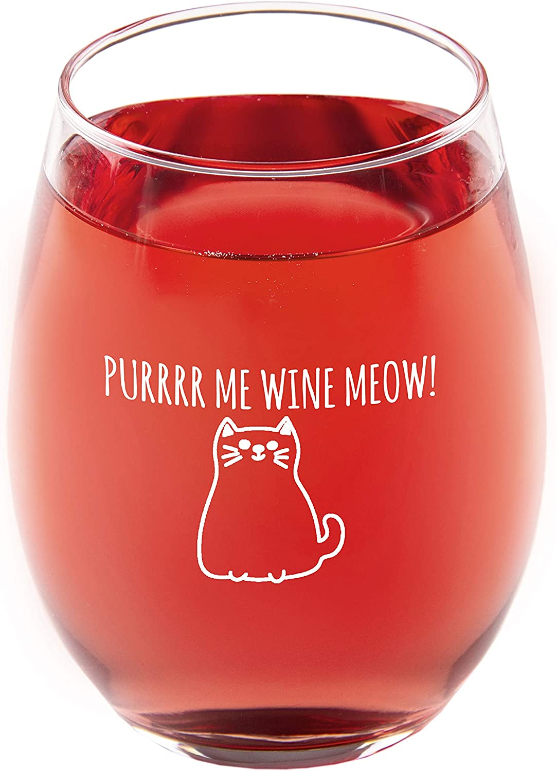 PURRRR ME WINE MEOW! 15oz. Novelty Cat Stemless Wine Glass. Great gift for lovers of Cats and Wine. Relax with your favorite beverage and feline friends while drinking out of this adorable wine glass.