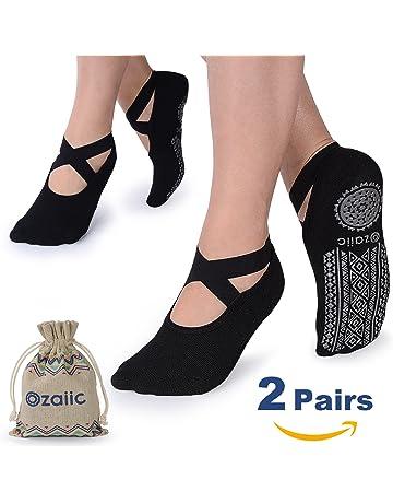 0e6b54ea3cb6f Ozaiic Yoga Socks for Women Non-Slip Grips & Straps, Ideal for Pilates,