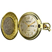 JFK Half Dollar Coin Watch - Quartz Pocketwatch Date and Day Display with Chain and Cover - AS8019