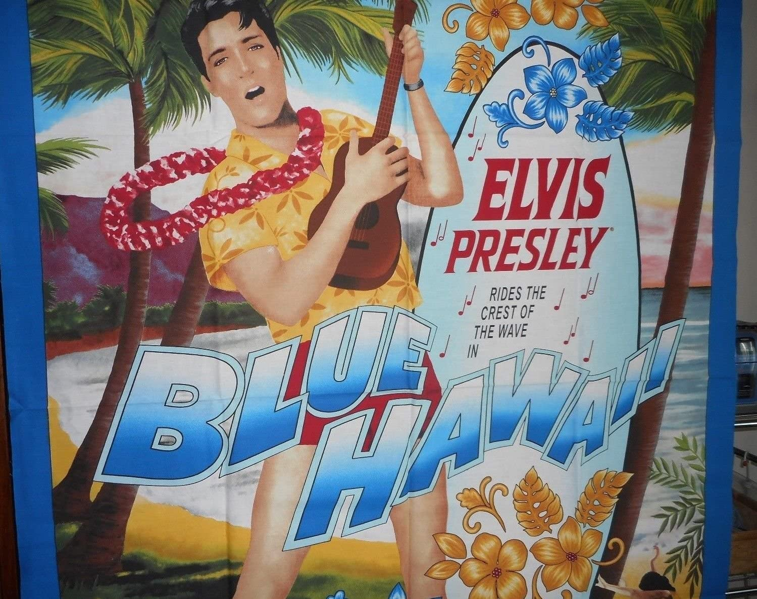 "Elvis Presley Block Hawaii Bongo Drums Square 6.5/"" x 6.5/"" Patch on Cotton Fabric"