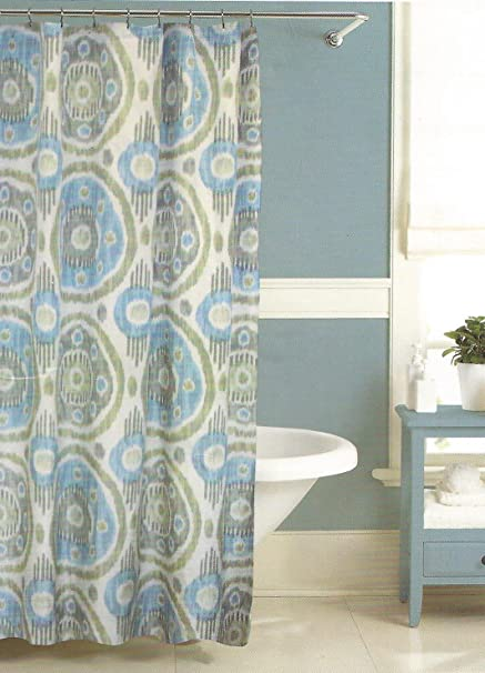 Amazon Raymond Waites Ankara Ikat Aqua Luxury Fabric Shower