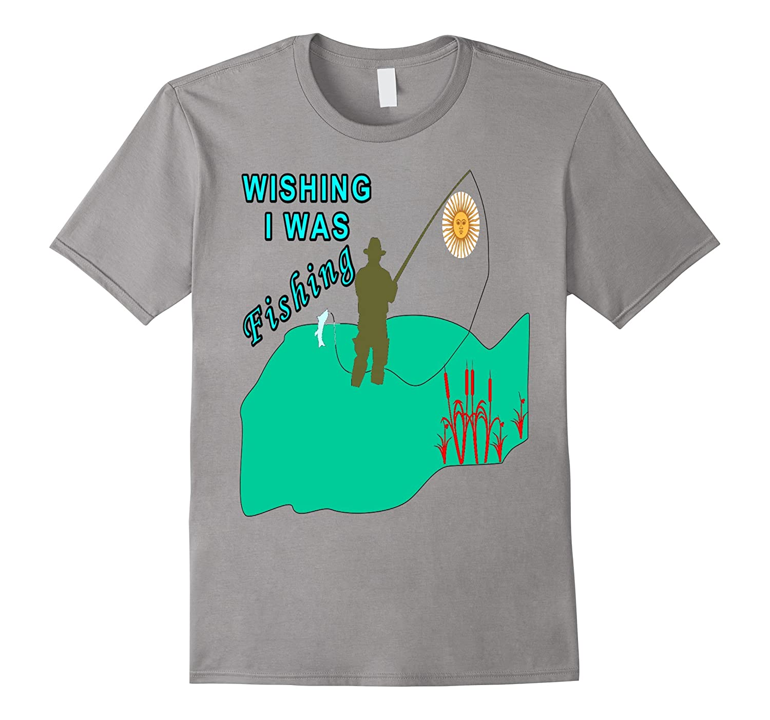 Wishing I Was Fishing T Shirt 3