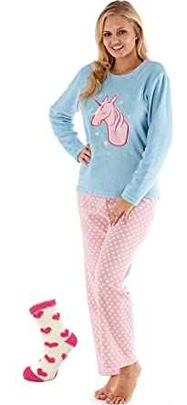 a826de4568e Womens Ladies Fleece Pyjama Set Lounge Wear Warm Soft Long Sleeve Top Night Winter  PJs with