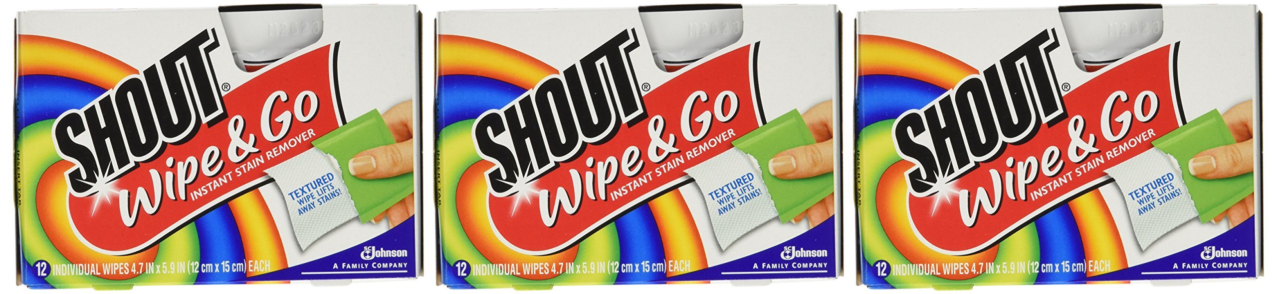 Shout Stain Remover Wipes-12 ct. (Pack of 3)
