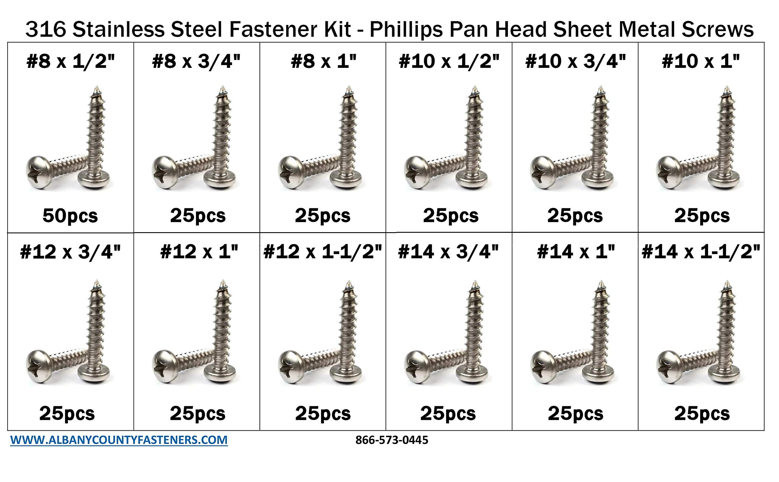 316 Stainless Steel Phillips Pan Head Sheet Metal Screw Assortment Kit Sizes #8 Through #14-326 Pieces by ALBANYCOUNTYFASTENERS