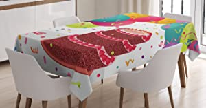 """Ambesonne Birthday Tablecloth, Strawberry Triplex Cake with Candles Ribbons Balloons Newborn Celebration Theme, Dining Room Kitchen Rectangular Table Cover, 60"""" X 84"""", Dark Magenta"""