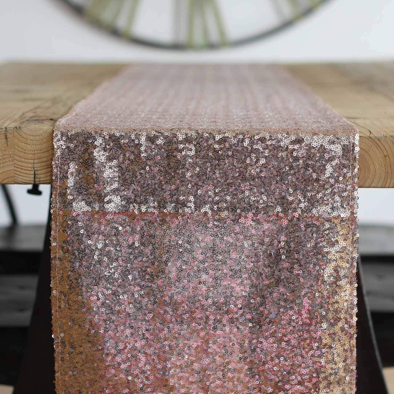 OWS Pack of 15 Pc Wedding 12 x 72 inch Sequin Table Runner for Wedding Banquet Decortable Sparkly Sequin Runner- Rose Gold