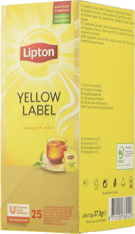 Lipton Té Negro Yellow Label - 6 cajas de 25 sobres: Amazon.es ...