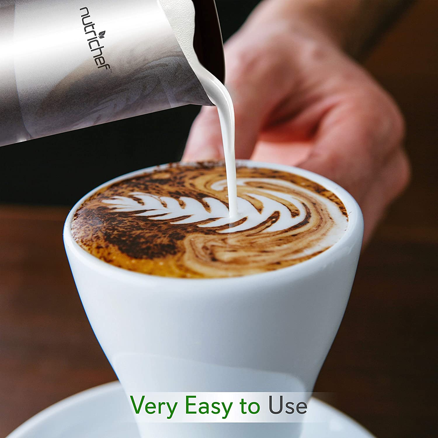 Electric Milk Warmer and Frother Silver Stainless Steel Froth Foam Maker for Latte Cappuccino Coffee Drink 2-in-1 Automatic Hot or Cold Milk Steamer Heater Foamer Blender NutriChef PKNESPRESO65